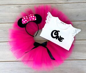 Hot Pink Minnie Mouse Cake Smash Outfit - 3 Piece First Birthday Tutu Baby Girl
