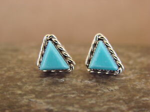Small Zuni American Indian Jewelry Sterling Silver Turquoise Triangle Post Earri