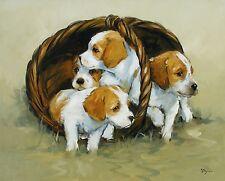 Original Oil painting  - cocker spaniel puppys - dogs - UK artist j payne