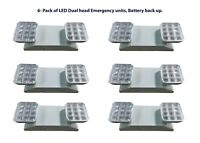 R1 LED TWO HEAD EMERGENCY LIGHT, BATTERY BACK UP, EXIT SIGN COMBO UL, 6-PACK