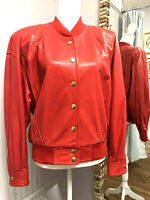 Escada By Margaretha Ley Women Red Leather Bomber Jacket 42 Football Retail 2500