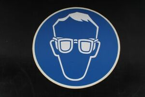 Notice Sign Shield Protection Glasses Wear Round Blue 15 11/16in Ø