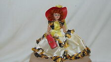 """Duchess Doll Design Corp-1947 Red Haired 7"""" doll in White, Yellow & Black Dress"""