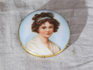 Antique Self Portrait Veegee Lebrun Miniature Porcelain Brooch Hand Embellished