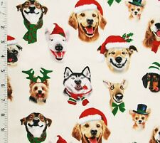 Dog Christmas Selfies Cotton Quilting Fabric Husky Golden Pug Pom Bull Terrier