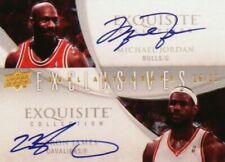 MICHAEL JORDAN AND LEBRON JAMES 2008 EXQUISITE DUAL AUTO REPRINT AUTOGRAPH CARD