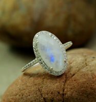 Natural Moonstone CZ Handmade Ring Jewelry Solid 925 Sterling Silver MR1960