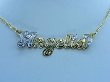 PERSONALIZED 14K GOLD GP NAME PLATE CHAIN NECKLACE GIFT ANY NAME UP TO 9 LETTERS