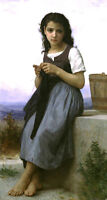 Fine Oil painting Bouguereau - The Little Knitter girl in landscape canvas 36""