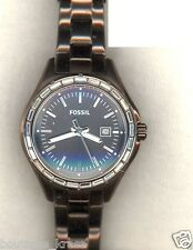 NWT Fossil AM4399 Dylan Glitz Stainless Steel Brown Dial Brown Bracelet Watch