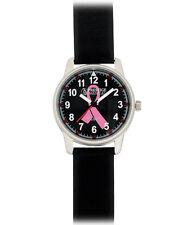 Prestige Medical Large Pink Ribbon Black Leather Nurse Watch - CLEARANCE!
