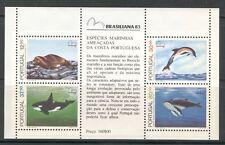 ENDANGERED SEA MAMMALS, WHALES ON PORTUGAL 1983 Scott 1578a SOUVENIR SHEET, MNH