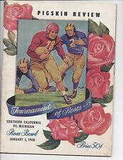 1948 Rose Bowl Football program Michigan Wolverines vs. USC Trojans ~ Good