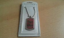 SPA DIVA Fashion Dogtag with CZ Ball Chain Necklace  Dog Tag Pendant