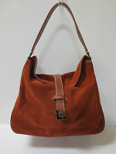 LAMBERTSON TRUEX Whiskey Brown Suede Leather Shoulder Bag Handbag MINT