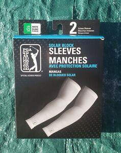 PGA Tour Solar Block Sleeves Golf White 2 Unisex Sleeves Size L/XL