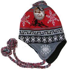MENS PERU / PERUVIAN / INCA STYLE FAIRISLE BEANIE HAT - RED & GREY SNOWFLAKE