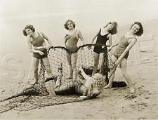 BATHING BEAUTIES catch MERMAID in Net HOLLYWOOD Vintage PHOTO *CANVAS* Art PRINT