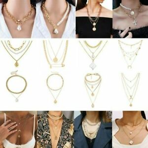 Boho Multi-layer Pearl Chain Pendant Necklace Choker Charm Women Party Jewellery