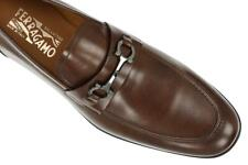 NEW SALVATORE FERRAGAMO BROWN LEATHER GANCINI LOAFERS SHOES 10 EEE