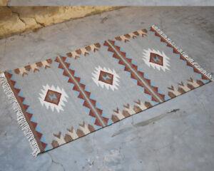 Floor Mat Bohemian Home Décor Rug 3'x5' Hand Woven Grey Color Kilim Wool Carpet