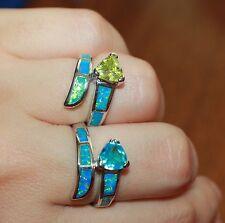 fire opal Topaz ring gemstone silver jewelry Sz 6 6.5 7.5 8.25 cocktail band R4