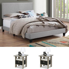 3 Pieces Gray Bedroom Set Queen Size Modern Furniture Platform Leather Bed