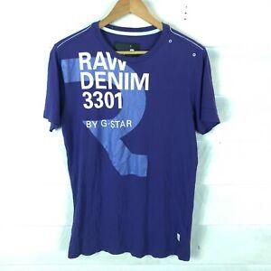 G Star Raw Midnight Blue Purple Short Sleeve Graphic Mens T-Shirt Size S