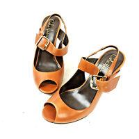 Cole Haan Womens Air Soles Open Toe Slingback Leather Brown Black Heels Sz 6B