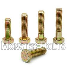 1/4-20 Hex Cap Screws / Tap Bolts, Zinc Yellow Grade 8 Alloy Steel Coarse Thread