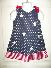 Cre8Ions Stars And Stripes Dress Size 2T Girl'S Euc