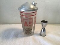 "Vintage "" 1960's - Glass Shaker  8  Printed Recipes /w Aluminum Lid & Measurer"