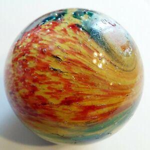 "Antique VTG German 1 1/2"" Handmade Onionskin Marble Mutli-Color Swirled"