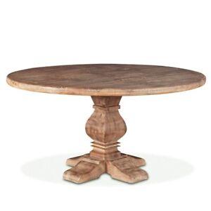 "60"" W Raymond Dining Table Solid Mango Wood Traditional Round Antique Oak Finish"