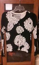 Old Navy Black White Floral Cardigan XS