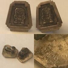 Earrings Screw Backs Aztec Vintage Sterling Silver Mexican
