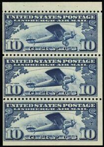 C10a, Mint Lightly Hinged 10¢ Lindbergh Booklet Pane Cat $70.00 - Stuart Katz