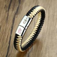 Religious Men's Braided Leather Bracelet Ankh Cross Horus Eye Egyptian Wristband