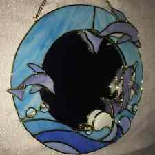 Tiffany Styled Stained Glass Mirror With Dolphins  [9047-E]