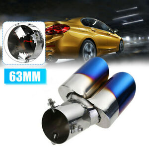 Stainless Car Rear Dual Exhaust Tail Muffler Tip Throat Tailpipe Blue Burnt