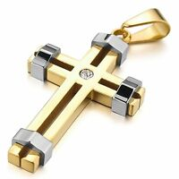 MENDINO Men's 316L Stainless Steel Pendant Necklace Chain CZ Crucifix Cross Gold