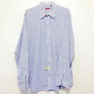 Izod Blue Navy Cream Plaid Long Sleeve Button Down Shirt Men's Sz XLT