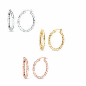 Cute Diamond Cut Round Hoop Earrings Set in Real 10K White, Yellow or Rose Gold