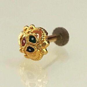 14 Kt Yellow Gold Stud Nose Pin Body Piercing Bone Jewelry Ring 20 Gauge 20g