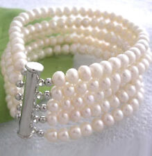 5 Rows Genuine 7-8mm Fresh Water White Pearl Silver Clasp Women Bangle Bracelet