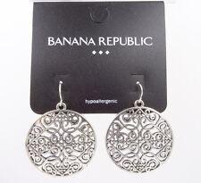 New Scroll Pattern Filigree Medallion Earrings by Banana Republic #BRE6
