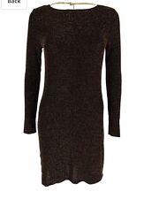 Michael Kors Womens Long-Sleeve Metallic Sheath Dress chocolate gold x small