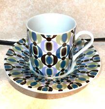 Set of 4 Retro Porcelain Espresso Cups with Saucers