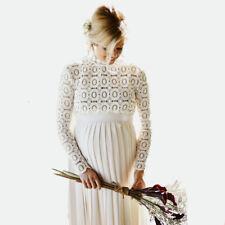 Maternity Photography Pregnancy Cloth Cotton and hemp Long Sleeve Dress White M