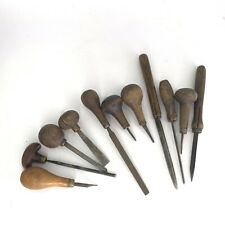 Jewler Machinist Gunsmith Engraver Watch Leather VTG Wooden Tool Lot Of 11 Pcs